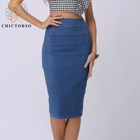Chictorso Sexy High Waist Denim Skirts Blue Bodycon Pencil Skirt Women Plus Size Summer Skirt Long Denim Skirt Women Saia Midi
