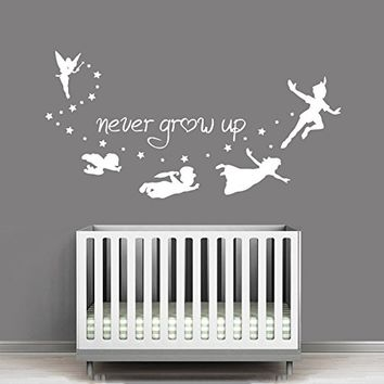 kau412 Peter Pan wall decal, peter pan wall sticker, wall decal nursery,wall decal kids,wall sticker disney,Tinkerbell Pirate Never Grow Up