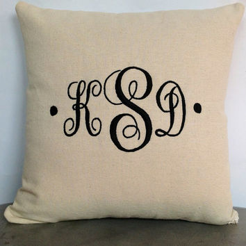 Personalized Pillows Monogrammed Pillows 20 inches- Embroidered letter throw pillows-wedding pillows -Made to Order