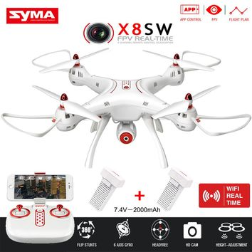 X8HW Upgrade SYMA RC Helicopter X8SW with FPV Wifi Camera 2.4G 6-Axis APP Control,Real-Time Sharing+4G SD Card RC Drone Toys