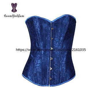 816# high quality metal busk clips Dobby Blue corset with G string slimming outfit clothes waist corset