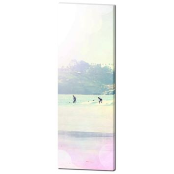 Coastline View - Surfer Art - Surfing - PalmTree - Pastel Color - Rainbow Colors - Tall Canvas - Large Canvas - 20 x 60 Canvas