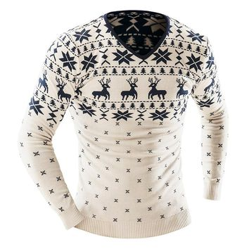 2016 Autumn Winter Pullover Men Christmas Sweater Jumper V Neck Deer Pattern Slim Fit Knitted Christmas Sweaters Knitwear