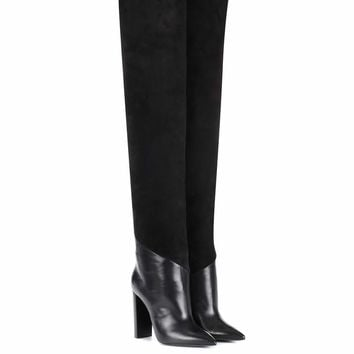 Tanger 105 leather and suede over-the-knee boots