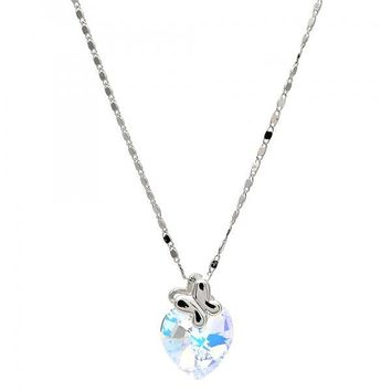 Gold Layered Fancy Necklace, Heart and Butterfly Design, with Swarovski Crystals, Rhodium Tone