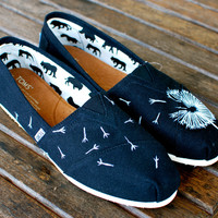 Custom Hand Painted TOMS -- White Dandelion on Black Canvas Classic TOMS Shoes -- Customizable
