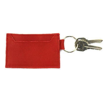 Leather Credit Card Wallet Keychain