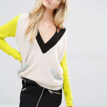 Noisy May Deep V Colourblock Knit Jumper at asos.com