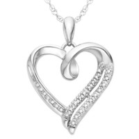 Sterling Silver White Round Diamond Heart Pendant (1/10 cttw) | AihaZone Store