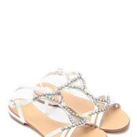 White Glitter Stone Arabian Sandals