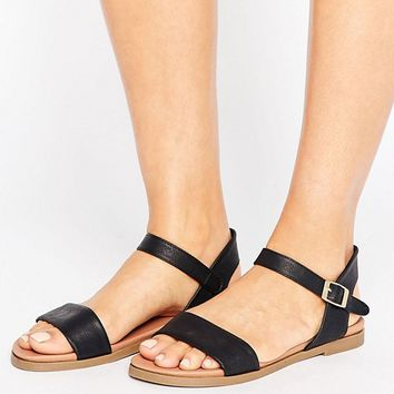 New Look Wide Fit Clean Leather Look 2 Part Flat Sandal at asos.com