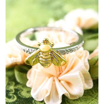 Gold-Plated Bumble Bee Ring With Rustic Band