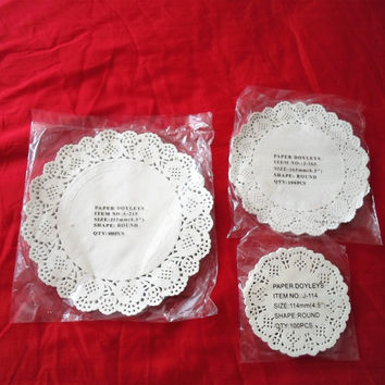 "100Pcs 4.5 "" 6.5"" 8"" White Round Lace Paper Doilies/Doyleys,Vintage Coasters/Placemat Craft Wedding Christmas Table Decoration"
