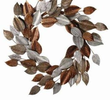 """Metal Leaf Wreath in Gold, Silver and Copper Bronze - 24"""" Wide"""