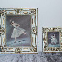 Set of ornate vintage framed Carina ballerina wall decor, dance, girls room