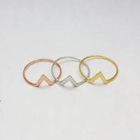 Small V Chevron Ring in Gold / Rose Gold / Silver