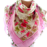 Lace embroidered scarf, pink lace edge scarf,scarves for women, soft scarf, cozy scarf, trendy scarf