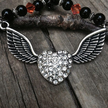 Rear view mirror charm, rhinestone heart with wings , black and orange beadwork, Harley biker, Harley Davidson look