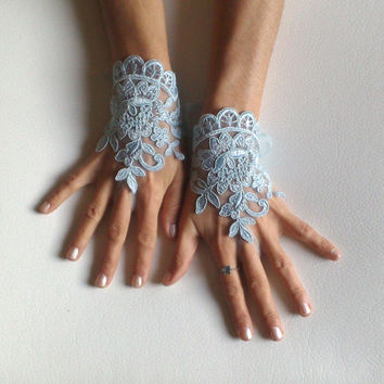 Something blue wedding glove free ship bridal wedding fingerless french lace blue wedding gloves gauntlets guantes rustic elegant