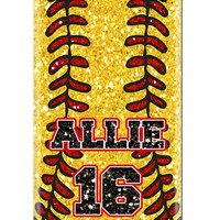 CUSTOM iPhone 5 4s 4 Samsung Galaxy s3 siii Phone Case - Softball Glitter Mom Dad Name Number Sports - Monogram Personalized