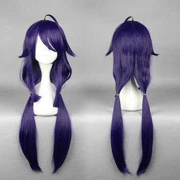 Submarine Taigei 80cm long straight purple anime cospla wig Kantai Collection-Japanese Submarine Great Whale purple cosplay wig,Colorful Candy Colored synthetic Hair Extension Hair piece 1pcs WIG-577L