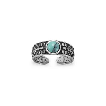 Simulated Turquoise Toe Ring in Oxidized Sterling Silver