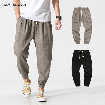 MRDONOO 2018 Cotton Linen Casual Harem Pants Men Jogger Pants Men Fitness Trousers Male Chinese Traditional Style Harajuku K29