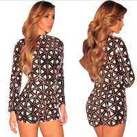High Quality Women Fashion Jumpsuits Sexy Sequined Skinny Playsuits Long Sleeve Back Zipper Patchwork Bodycon Rompers Online