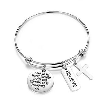 SEIRAA I Can Do All Things Through Christ Who Strengthens Me Charm Bracelet Phil 413 Scripture Jewelry Christian Gifts Verse Bible Bracelet For Woman