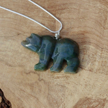 Indian Agate Stone Bear Necklace ~  Polar Bear Necklace ~ Green Stone Necklace ~ Bear Necklace ~ Winter Gift ~ Birthday Gift ~ Anniversary