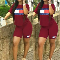 TOMMY HILFIGER Popular Women Leisure Print Short Sleeve Top Shorts Set Two Piece Sportswear Burgundy