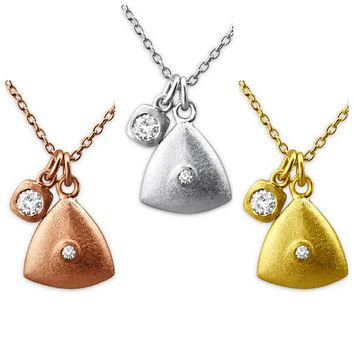 Solid 925 Sterling Silver + 14K Gold Plated White Cubic Zirconia Triangle Necklaces