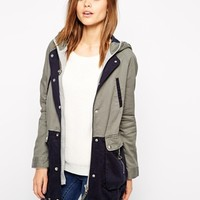 Warehouse Hooded Colour Block Parka at asos.com
