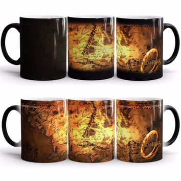 Free Shipping 1Piece The Lord of the Rings Color Changing Mug One Ring Heat Sensetive Mug Hobitts Office Ceramic Mug