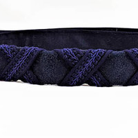 Navy Suede Belt, Woven Accents, Ione, One Size Fits All, Made in USA, Vintage Clothing Accessories