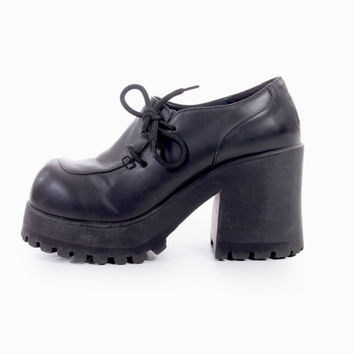 afb760b4862 90s Vintage Black Vegan Leather Chunky Platform Shoes Lace Up An