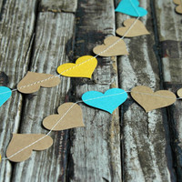 Teal and Harvest Gold Kraft Heart Garland . Teal and Yellow Country Wedding Decorations . Fall Wedding Decor