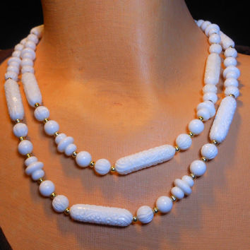 1960s Sarah Coventry signed Ivory White beaded necklace lucite floral carved ethnic or tribal look