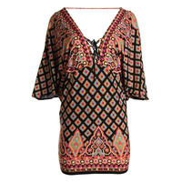 Nanette Lepore Womens Lace-Up Open Back Swim Top Cover-Up