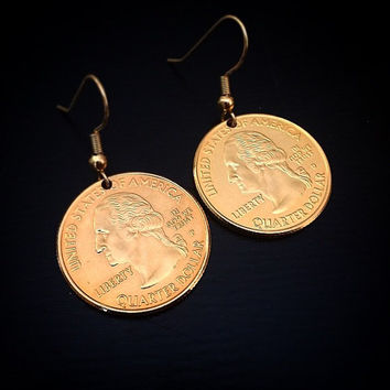24kt gold plated quarter ear rings.