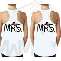 LGBT Lesbian Matching Mrs and Mrs Couple Shirts, Kissing Minnie and Mickey Mouse, Disney Vacation Shirts, Free Shipping, 295