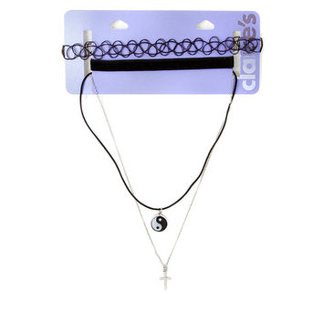 Tattoo and Velvet Chokers with Yin Yang Symbol and Cross Pendant Necklaces Set of 4