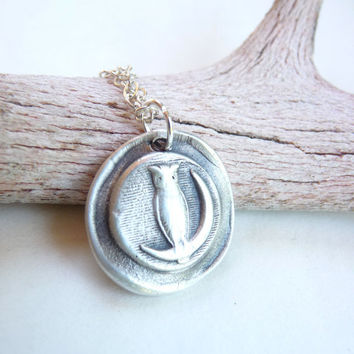 Owl moon wax seal pendant made from recycled silver, custom made to order