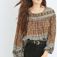 Kimchi Blue Meghan Mustard Blouse - Urban Outfitters