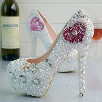 Fashion Luxurious Pearls Crystals Wedding Shoes Custom Made High Heel Bridal Shoes Party Prom Women Shoes