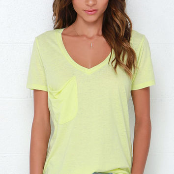 Pleasant Surprise Washed Chartreuse Tee