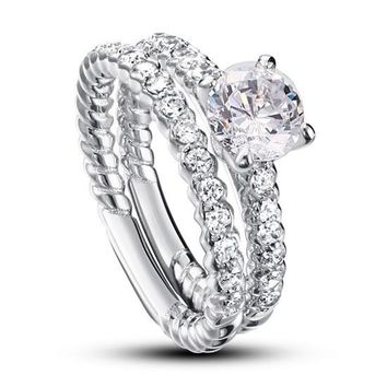 Created Diamond 925 Sterling Silver 2-Pcs Wedding Engagement Ring Set
