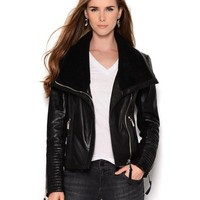 BCBGeneration Genuine Leather Zip Jacket - BCBG - Modnique.com