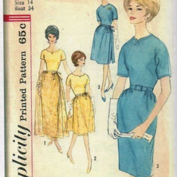 Simplicity Mad Men Style 60s Cocktail Dress Formal Evening Gown Fitted Bodice Slim Straight Skirt Overskirt Uncut FF Bust 36
