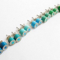 color pencil ear studs, the green and blue series